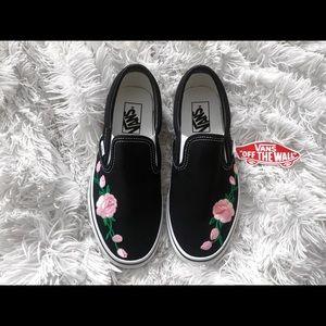 Handmade black & white slip on floral vans